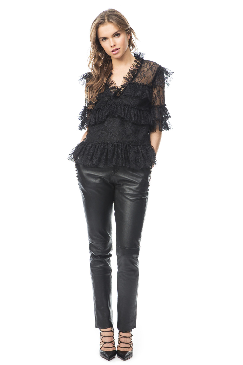 Tone studded leather pants