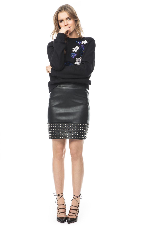 Aya studded leather skirt