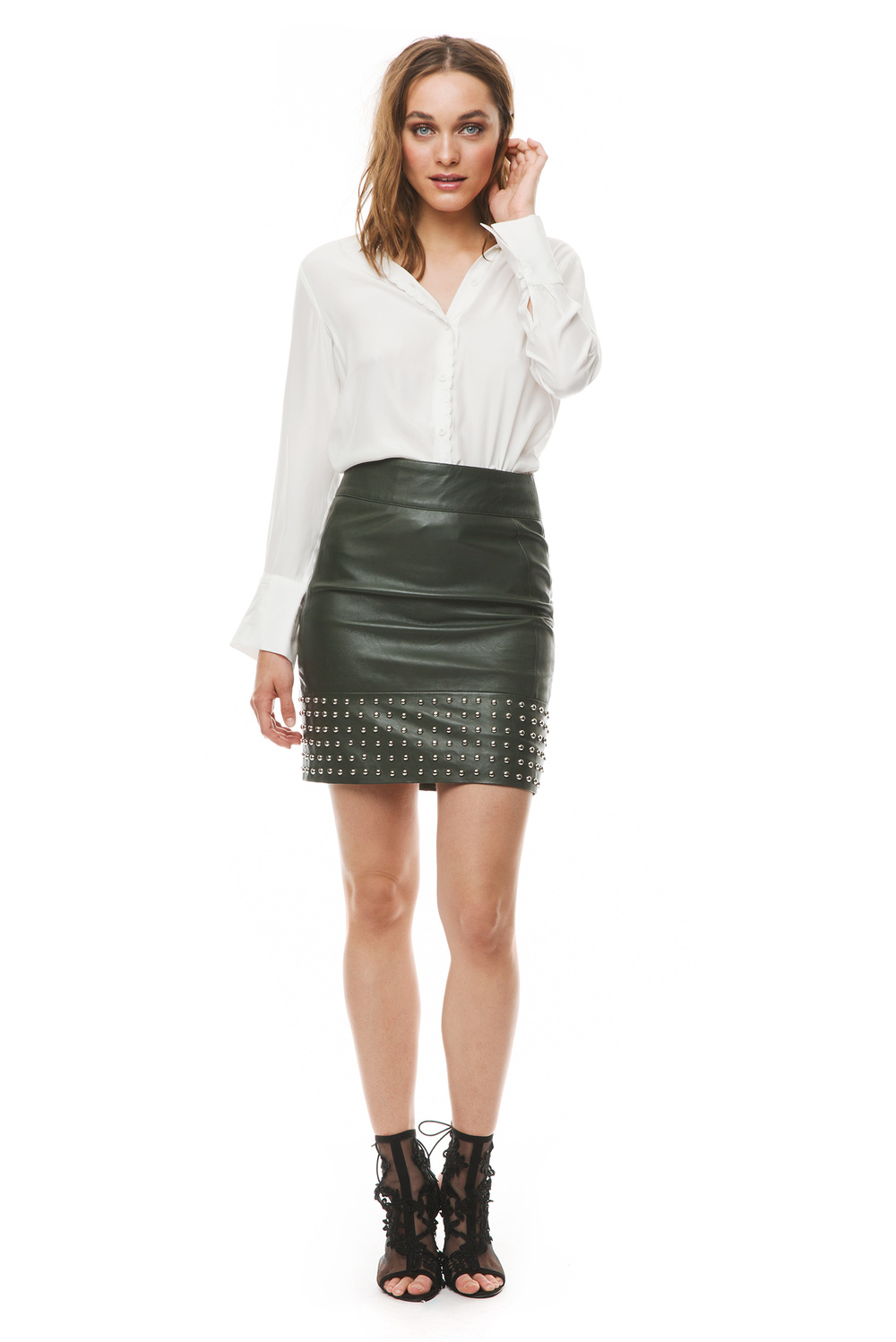 Aya leather skirt