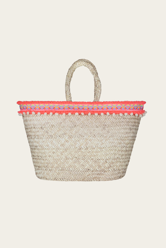 Product Thumbnail of Miami pompom straw tote